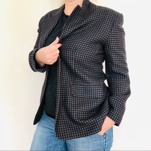NWOT Plaid Jacket Navy Blue Brown Blazer